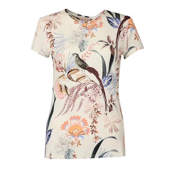 Ted Baker Womens White Jerikko Decadence Print Fitted T-Shirt