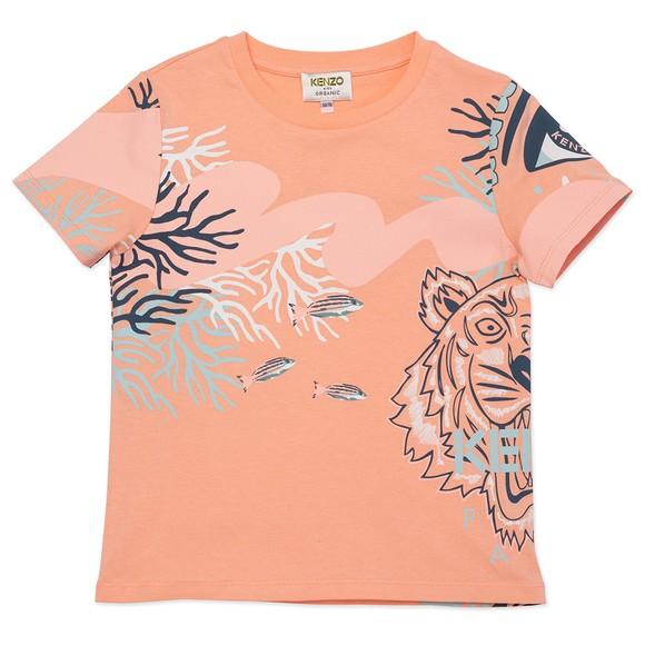 Kenzo Kids Girls Pink Coral Tiger T Shirt