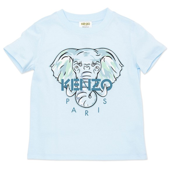 Kenzo Kids Boys Blue Elephant Logo T Shirt
