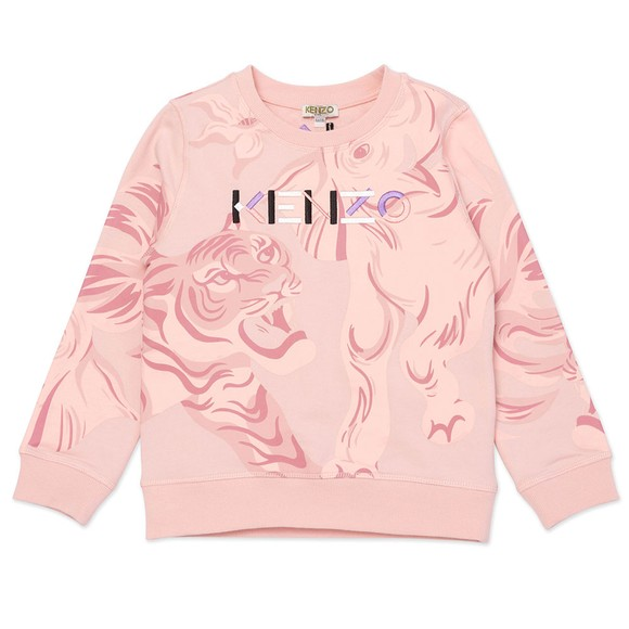Kenzo Kids Girls Pink Elephant & Tiger Sweatshirt