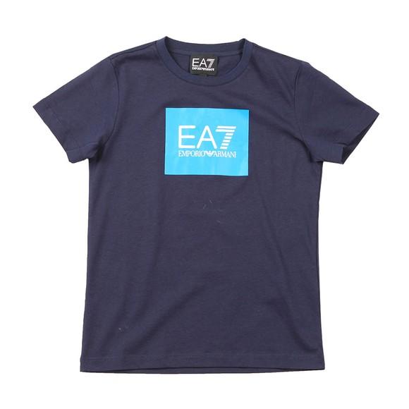 EA7 Emporio Armani Boys Blue Colour Block Box Logo T Shirt