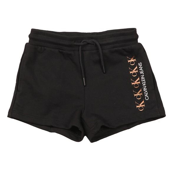 Calvin Klein Jeans Girls Black Repeat Foil Sweat Short