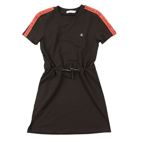 Calvin Klein Jeans Girls Black Tape Jersey Dress