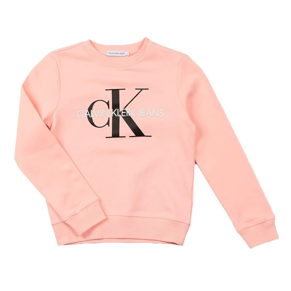 Calvin Klein Jeans Girls Pink Girls Monogram Logo Sweatshirt