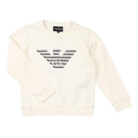 Emporio Armani Boys Off-White Sketch Eagle Logo Sweatshirt