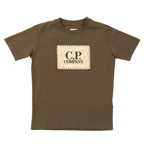 C.P. Company Undersixteen Boys Green Nylon Stamp Logo T Shirt main image