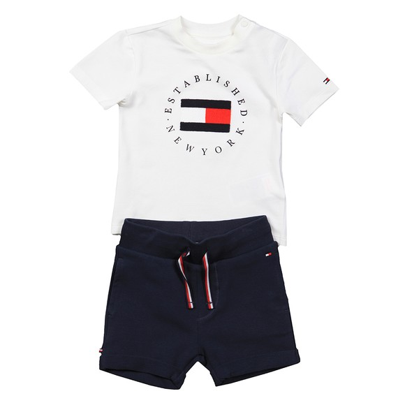Tommy Hilfiger Kids Boys White Baby Established Sweat Short Set