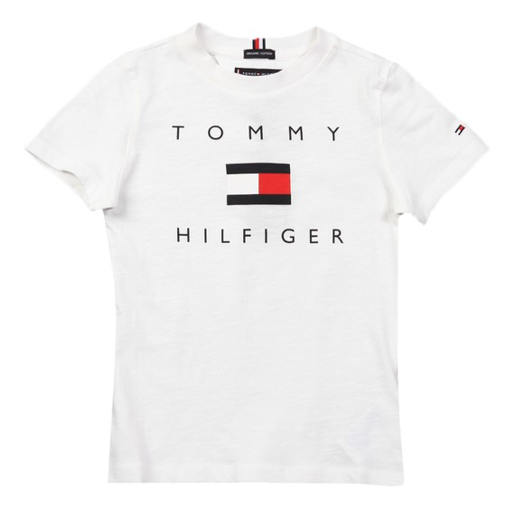 Tommy Hilfiger Kids Boys White Logo T Shirt