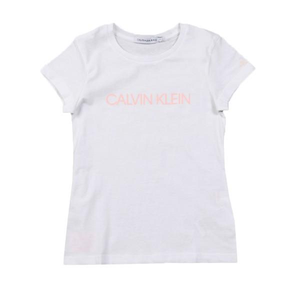 Calvin Klein Jeans Girls White Institutional Slim T Shirt
