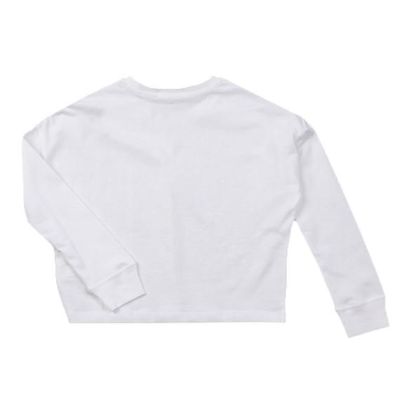 Calvin Klein Jeans Girls White Logo Repeat Long Sleeve Boxy T Shirt