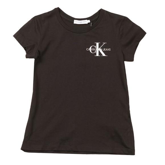 Calvin Klein Jeans Girls Black Slim Cotton Logo T Shirt