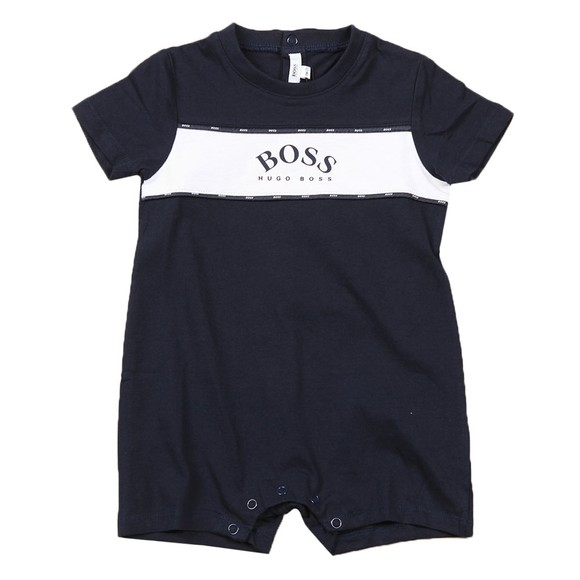 BOSS Baby Boys Blue J94275 Curved Logo Short All In One