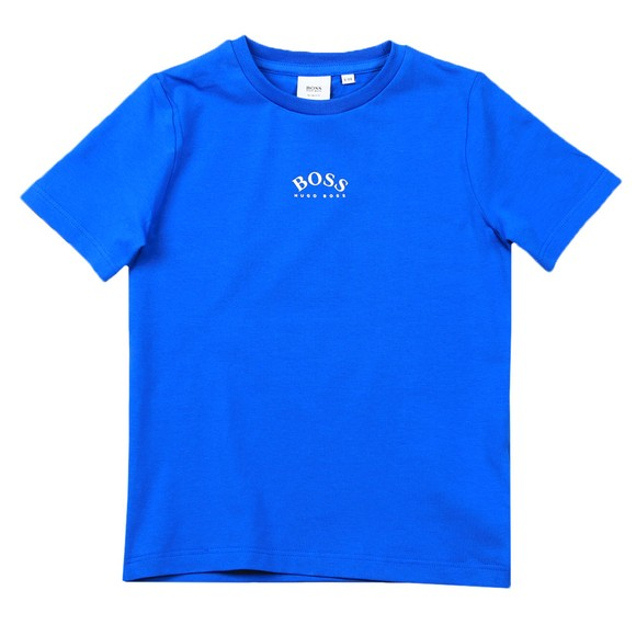 BOSS Boys Blue J25G99 Curved Centre Logo T Shirt main image