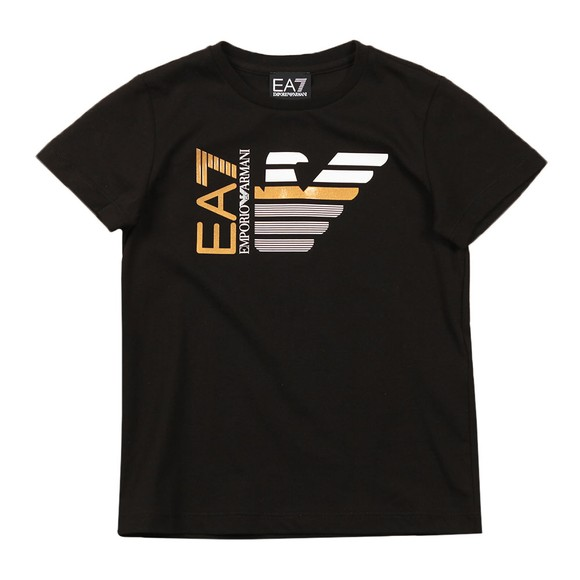EA7 Emporio Armani Boys Black Large Gold Logo T Shirt