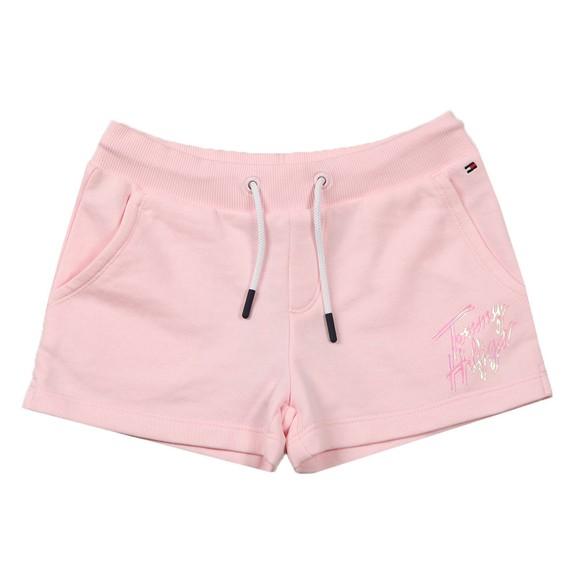 Tommy Hilfiger Kids Girls Pink Script Print Sweat Short