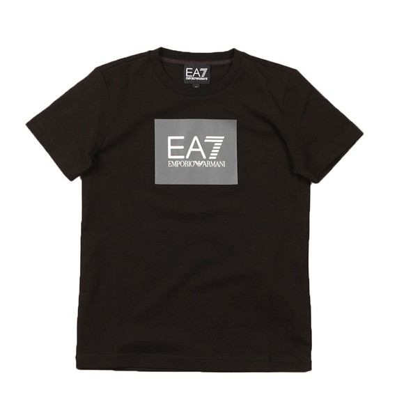 EA7 Emporio Armani Boys Black Colour Block Box Logo T Shirt main image