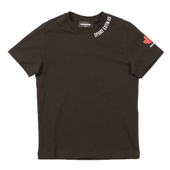 Dsquared2 Boys Black Neck Logo T Shirt