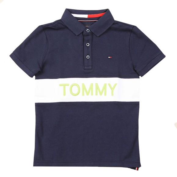 Tommy Hilfiger Kids Boys Blue Blocking Polo Shirt
