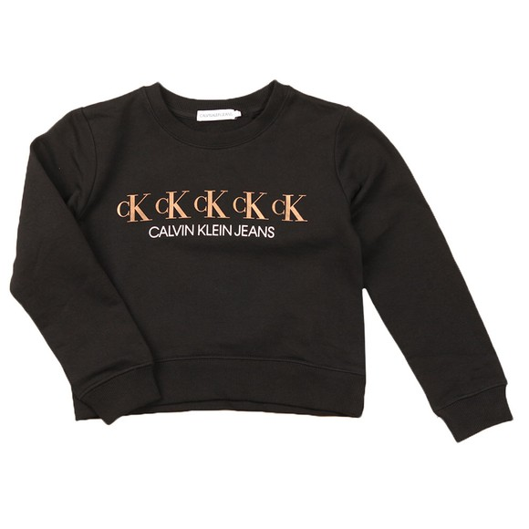 Calvin Klein Jeans Girls Black Repeat Foil Sweatshirt