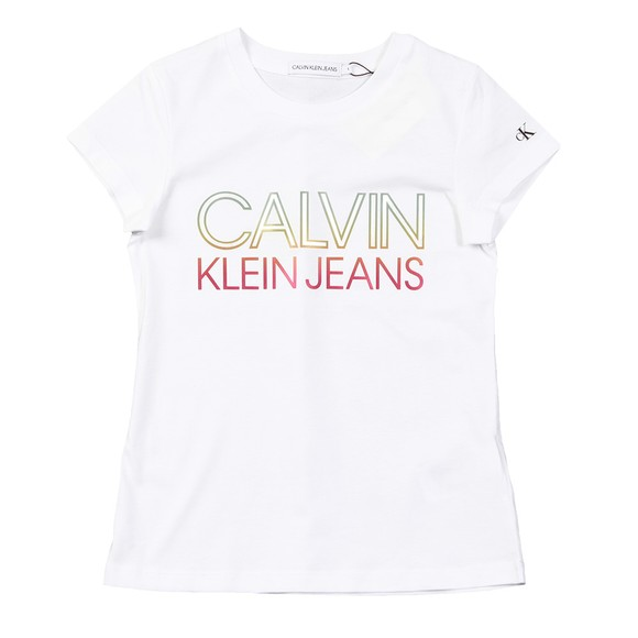 Calvin Klein Jeans Girls White Gradient Logo T-Shirt