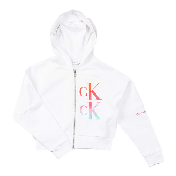 Calvin Klein Jeans Girls White Gradient Logo Zip Through Hoody