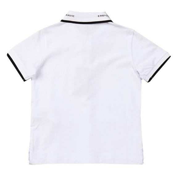 Emporio Armani Boys White Collar Logo Polo Shirt main image