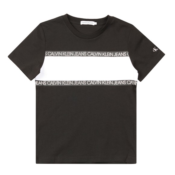 Calvin Klein Jeans Boys Black Logo Tape Colour Block T Shirt