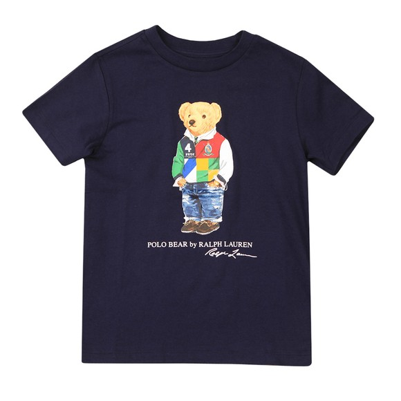 Polo Bear By Ralph Lauren Boys Blue Rugby Top Bear T Shirt