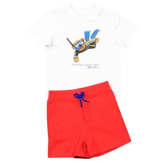 Polo Bear By Ralph Lauren Boys White Bear T Shirt & Short Set