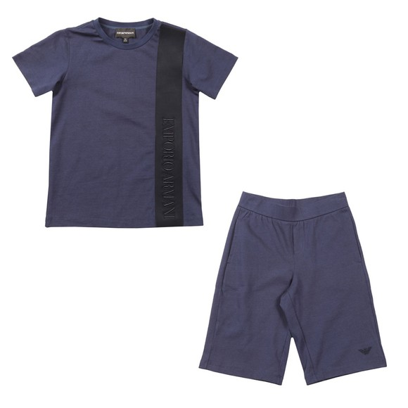 Emporio Armani Boys Blue Tape Logo Short Set