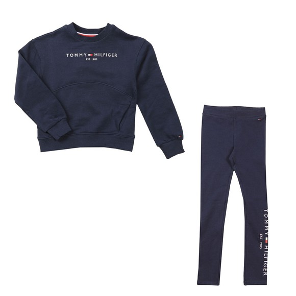 Tommy Hilfiger Kids Girls Blue Essential Crew Neck Legging Set