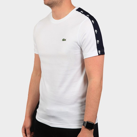 Lacoste Mens White TH5172 Tape T Shirt
