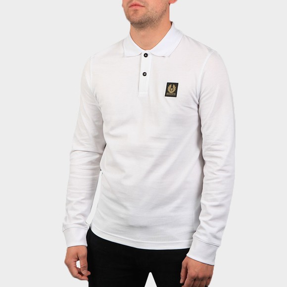 Belstaff Mens White Essential Long Sleeve Polo Shirt