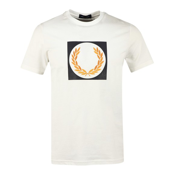Fred Perry Mens Off-White Laurel Wreath Graphic T Shirt