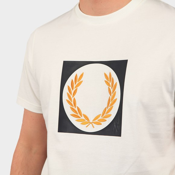 Fred Perry Mens Off-White Laurel Wreath Graphic T Shirt main image