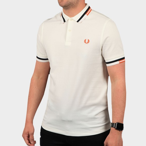 Fred Perry Mens Off-White Abstract Tipped Polo Shirt