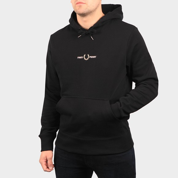 Fred Perry Mens Black Embroidered Hooded Sweatshirt