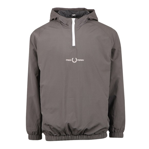Fred Perry Mens Grey Embroidered Half Zip Jacket