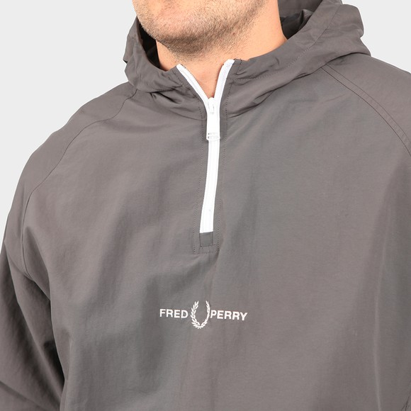 Fred Perry Mens Grey Embroidered Half Zip Jacket main image