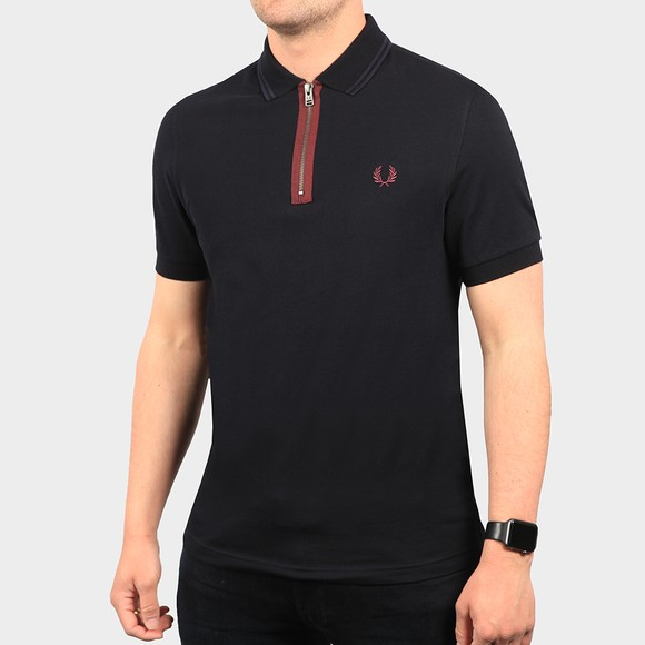 Fred Perry Mens Blue Zip Neck Polo Shirt