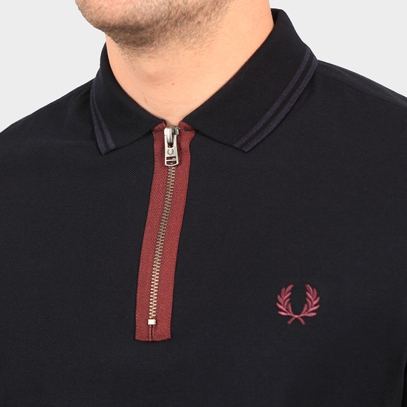 Fred Perry Mens Blue Zip Neck Polo Shirt main image
