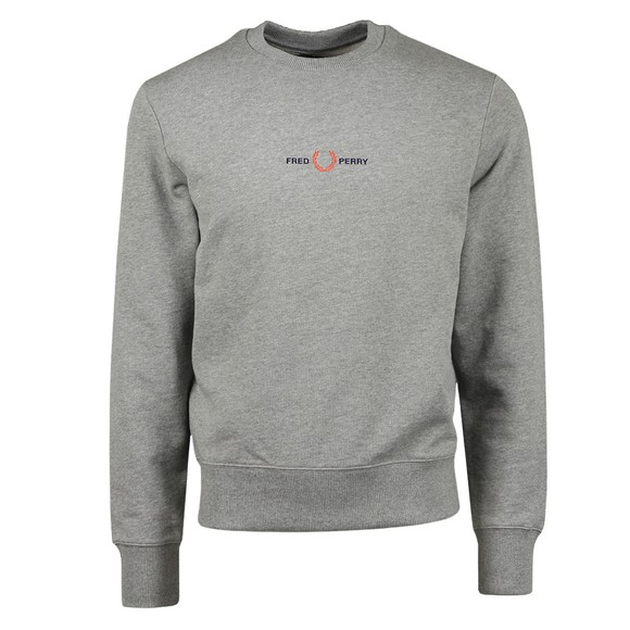 Fred Perry Mens Grey Embroidered Sweatshirt