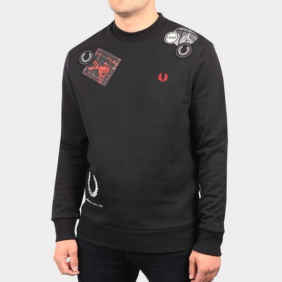 Fred Perry Mens Black Graphic Applique Sweatshirt main image