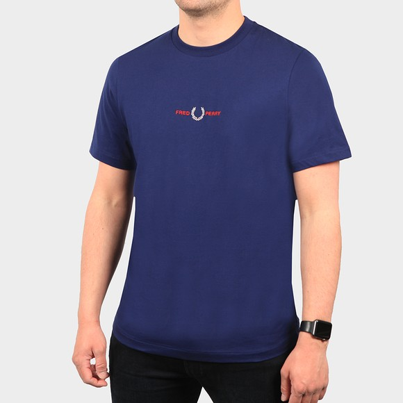 Fred Perry Mens Blue Embroidered T Shirt