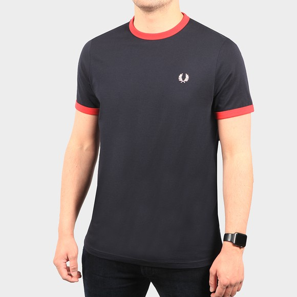 Fred Perry Mens Blue Ringer T-Shirt