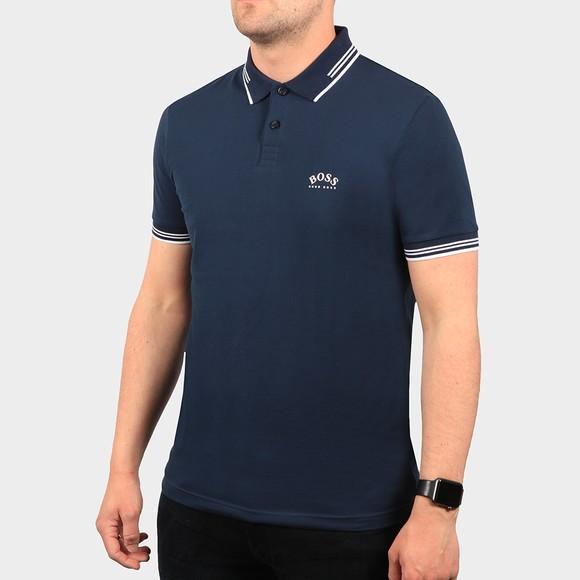 BOSS Mens Blue Athleisure Paul Curved Polo Shirt