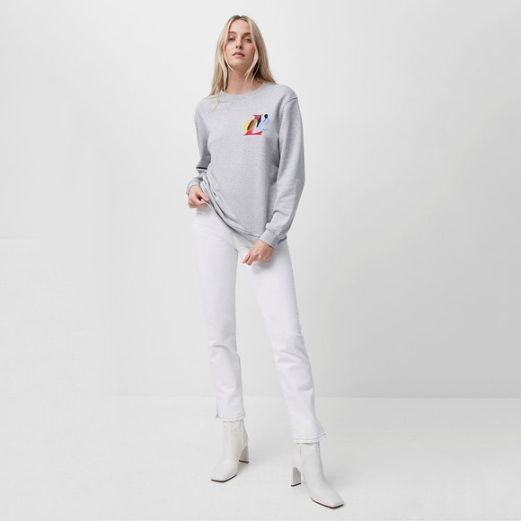French Connection Womens Grey Love Graphic Crew Sweatshirt
