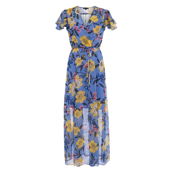 French Connection Womens Blue Eloise Crinkle Midi Dress