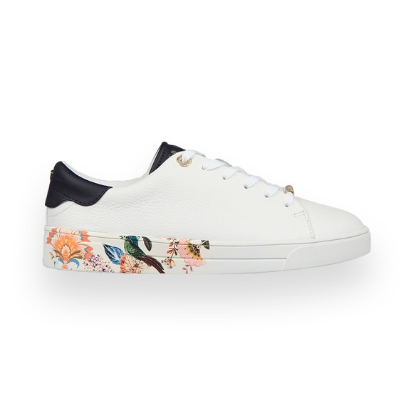 Ted Baker Womens White Azelea Decadence Printed Cupsole Trainer