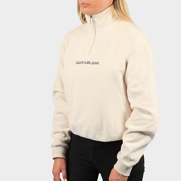 Calvin Klein Jeans Womens Off-White Half Zip Polar Fleece